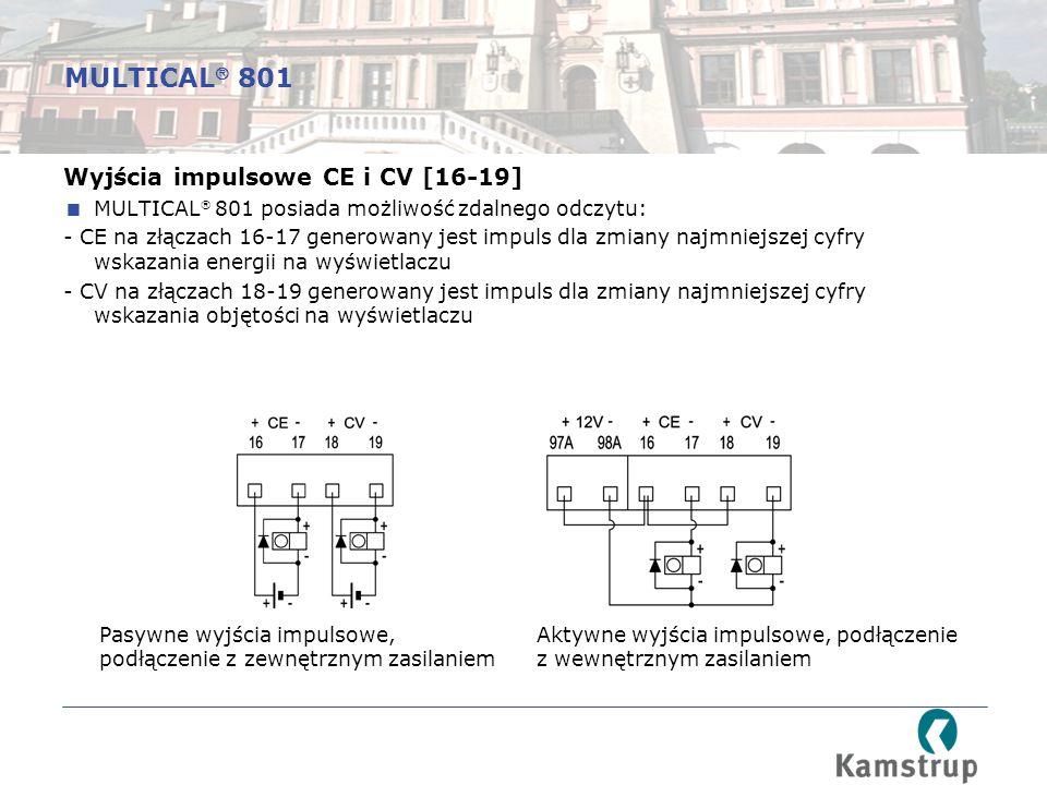 MULTICAL 801 Wyjścia impulsowe CE i CV [16-19]